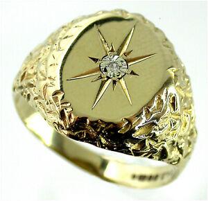 Man's Signet Ring Diamond Set size T 9ct Gold S/field HM c1998 Vintage quality