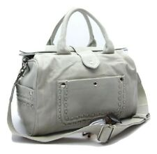 Emperia White Satchel Bag Faux Leather with Studded Pockets 15 (W) x 6 (D) x 9