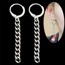 Women Men Punk Gothic Long Tassel Chain Dangle Stud Earrings Silver Tone Gift US