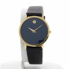"""Movado Museum 1990""""s Blue Face Gold-Plated Bezel Leather Band"""