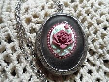 BEAUTIFUL MAUVE ROSE CAMEO LOCKET VICTORIAN