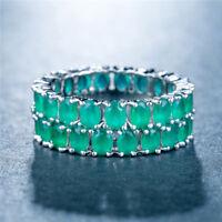Gorgeous Women Wedding Rings 925 Silver Jewelry Oval Cut Emerald Size 6-10
