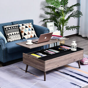 HOMCOM Coffee Table Desk Lift Up Top Design Home Office Furniture w/ Storage
