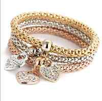 A Set Of Gold/Silver Plated Lady Girl Rhinestone Pendant Three Fashion Bracelets