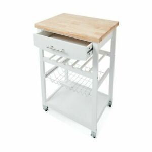 New Wooden Kitchen Utility Trolley Cart Drawer 2 Shelves Cabinet Rack White F7