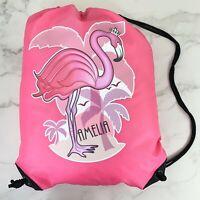 Personalised Flamingo Drawstring Pink PE Bag Kids Swimming Gym Kit School