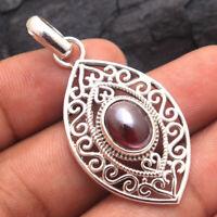 Red Garnet Gemstone Artistic Filigree Design Pendant 925 Sterling Silver Jewelry