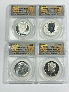 2014 ANACS EU,RP,SP,PR 70 Kennedy Silver Half Dollar 50th Anniversary 4 Coin Set