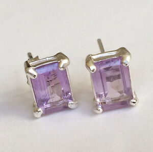 Sterling Silver Amethyst Earrings Purple Lavender Post Pierced 925 Princess Cut