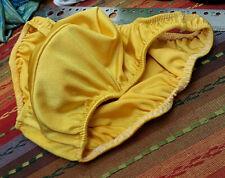 Mystery Men's Shiny Gold Poser Bikini - Nude Lined Pouch Nylon/Spandex - Large