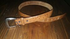 1377L 34 x 1 3/8 INCH TONY LAMA MEN'S TAN OSTRICH PRINT LEATHER DRESS BELT