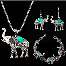 Antique Silver Plated Necklace Bracelet Earring Elephant Turquoise Jewelry Set
