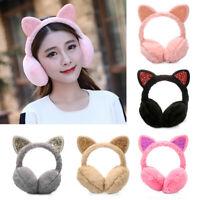 Girls Fluffy Earflap Ear Warmers Cat Ears Winter Warm Earmuffs for Cold Weather-