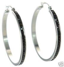Steel by Design Crystal Hoop Earrings Silver w/ Black Crystals '