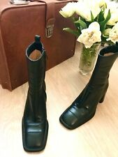 Costume National Boots Dark Green Leather Heeled Ankle Boots Size 36.5 6