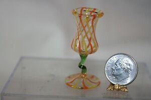 Miniature Dollhouse Vintage German Lauscha Striped Glass Pedestal Vase 1:12 NR