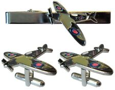 WW2 Spitfire Battle of Britain RAF Military Metal Aircraft Cufflinks & Tie Clip