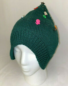Hand Knitted Green Elf Pixie Hat Cap Decorated with Kids Novelty Buttons
