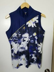 1 NWT EP NEW YORK WOMEN'S S/L POLO, SIZE: LARGE, COLOR: NAVY/WHITE/YELLOW (J168)