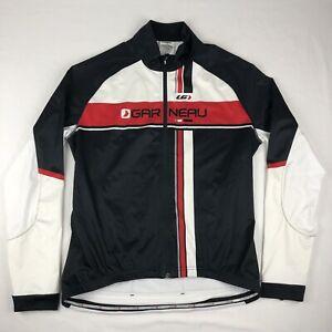 Louis Garneau Long Sleeve Cycling Jersey Black Red & White Full Zip Size Large
