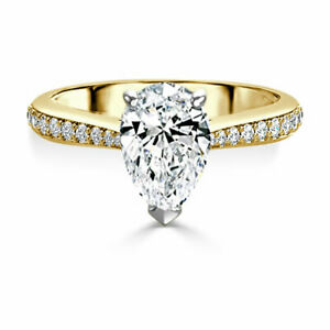 2.40 Ct Moissanite Pear Cut Yellow Gold Proposal Ring 14K Solitaire Girl ring