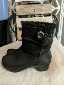 Dansko Stormy Black Leather Shearling Fur Lined Boots Clogs EUR 36/6