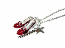 WIZARD OF OZ DOROTHY'S RUBY SLIPPERS AND GLINDA'S MAGIC WAND PENDANT NECKLACE