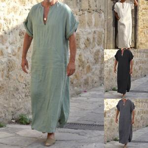 Men Arab Muslim Long Robe Clothes Casual Middle East Islamic Thobe Kaftan Robes