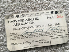 Harvard ATHLETIC ASSOCIATION Participation Ticket 1943-1944 SPORTS ENTRY PASS