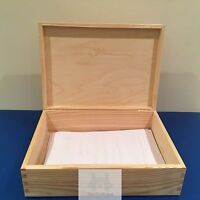 A4 Wooden document box case hinged lid untreated wood size 33x24x10cm. PZ202/x