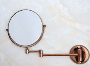 Rose Gold Copper Bathroom Shaving Beauty Makeup Magnify Mirror Dual Side fba637