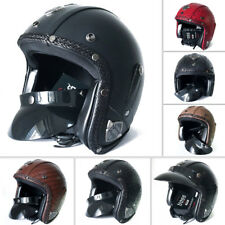 Vintage Motorcycle Leather Scooter Helmet MotorBike 3/4 Open Face Classical DOT