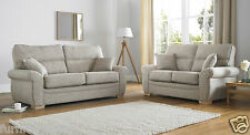Beige Brown High Quality Fabric Material 3 Seater 2 Armchairs Sofa Suite Kerry