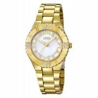 18K Gold Lotus Ladies Womens Watch Diamond Swarovski Crystals Water Resistant