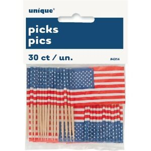 30 USA Flag Party Picks Adults American Cake Food Decoration America 4th July