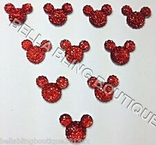 10 RED MINNIE MICKEY MOUSE SPARKLY HEAD FLATBACK RESINS EMBELLISHMENTS