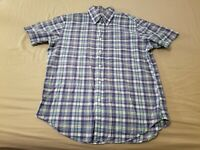 Mens Brooks Brothers Dress Shirt L Large Green Cotton Button Shorts Sleeve