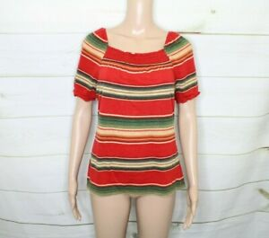 Women's Medium Chaps Orange Striped Rushed Short Sleeve Cotton Shirt