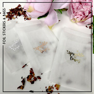 Glassine bags & foil transaprent stickers wedding sprinkle with love, confetti