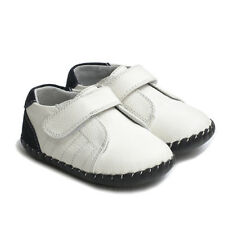 Boys Baby Infant Toddler White&Navy Soft REAL Leather Christening Cruiser Shoe
