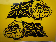 BRITISH BULLDOG UNION JACK Black & Clear Car or Bike STICKERS 75mm Pair Racing