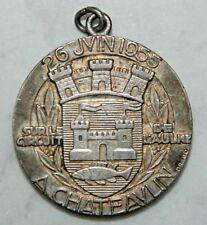 MEDAILLE EN BR ARGENTE SIGNEE DRAGO -  CHAMPIONNAT CYCLISTE 26 JUIN 1955
