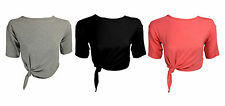 Women's Scoop Neck Cropped Casual Semi Fitted Tops & Shirts