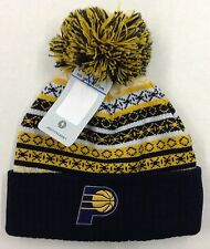 NBA Indiana Pacers Adidas Cuffed Pom Winter Knit Hat Cap Beanie Style #KZM28 NEW