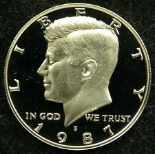 1987 S Deep Cameo Proof Kennedy Half Dollar Struck Through Grease Error Reverse