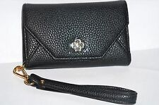 ANN TAYLOR Women's Black Leather Phone Wallet/Wristlet ID/Credit Card Holder NWT