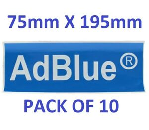 PACK OF 10, ADBLUE Pump Stickers 195mm x 75mm - Self Adhesive