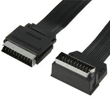 2m Flat Scart Cable - 90/270 Degree Angled - Male To Plug Lead - TV DVD