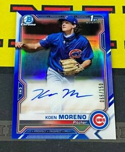 2021 Bowman Chrome Koen Moreno Blue Refractor Auto /150 Chicago Cubs