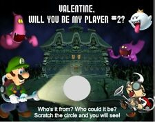 Super Mario Luigi Valentine's Day Scratch Off Cards Favors Personalized